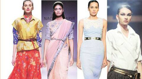 More than being just decorative, belts can be functional too, when worn over a sari.