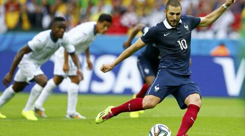Karim Benzema scored two goals in France's 3-0 win over Honduras in Group E of the FIFA World Cup in Brazil. (Source: Reuters)