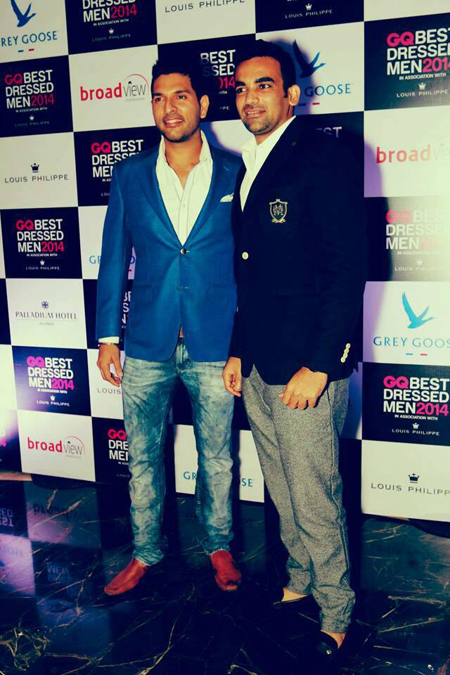 Cricketing duo Yuvraj Singh and Zaheer Khan were also equally stylish at an award night in town.
