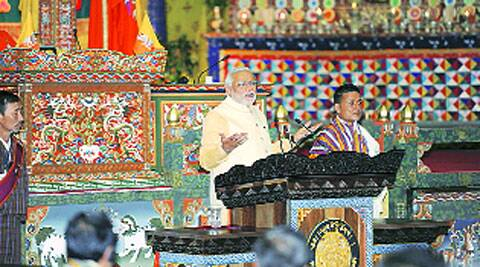 Modi addresses the joint session of Bhutanese National Assembly on Monday.
