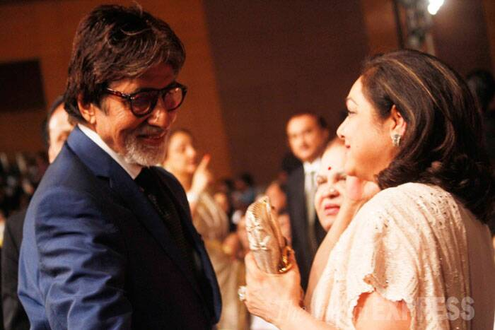Amitabh Bachchan and Tina Ambani share a light moment. (Source: Varinder Chawla)