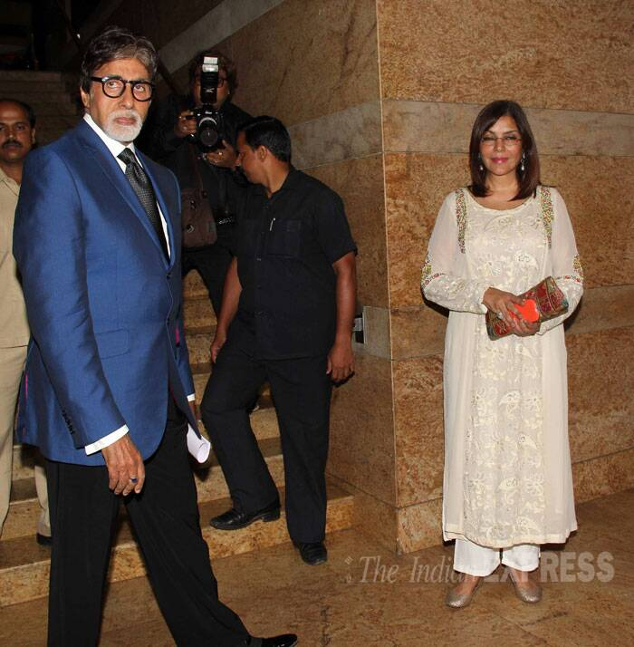 Megastar Amitabh Bachchan was dapper in a blue blazer while his 'Great Gambler' co-star Zeenat Aman was elegant in a cream coloured creation. (Source: Varinder Chawla)