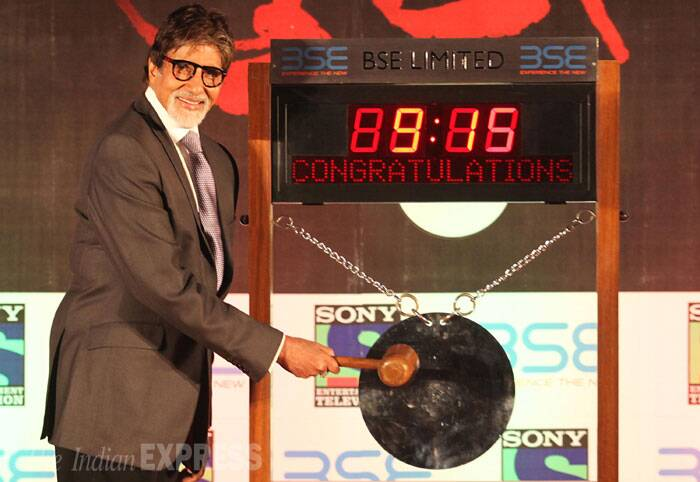"The actor also listed his fictional company 'Shanti Constructions' at BSE. <br /> ""By ringing the bell, 'Yudh' has listed 'Shanti Constructions' at the Bombay Stock Exchange,"" Amitabh Bachchan re-tweeted a post of Sony channel, on which the new show is set to air from next month. (Source: Express photo by Pradeep Kochrekar)"