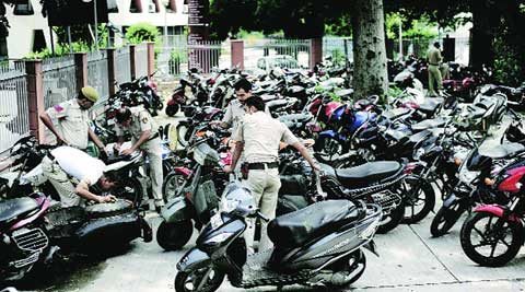 Bikes impounded on the night of Shab-e-Barat at Tilak Marg police station. (Source: Express photo by Praveen Khanna)