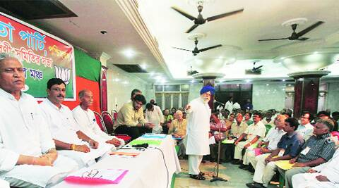 Darjeeling MP addresses the BJP state committee meeting, in Kolkata, Saturday. (Source: Express phorto by Subham Dutta)