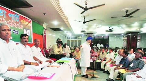 Darjeeling MP addresses the BJP state committee meeting, in Kolkata, Saturday. (Source: Express phorto by Subham Dutta)
