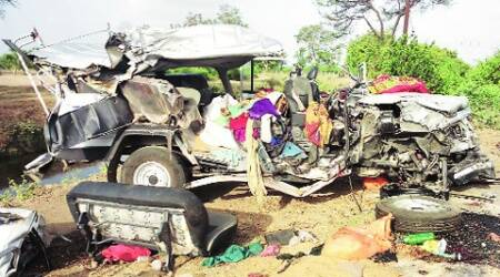 The ill-fated vehicle after the accident near Piplay village on Saturday. (Express)
