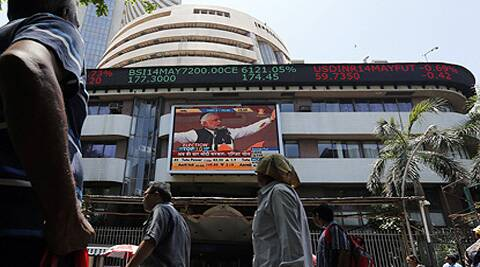BSE Sensex surges 376.95 points to record closing high of 25,396.46.