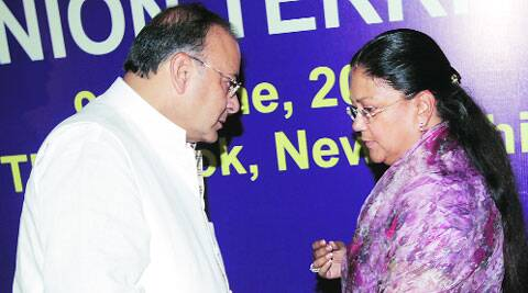 Finance Minister Arun Jaitley with Rajasthan Chief Minister Vasundhara Raje Scindia during a pre-Budget meeting with finance ministers of states and Union territories in New Delhi on Monday. Amit Mehra