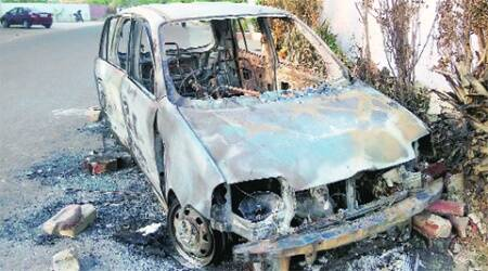 Hyundai Santro which caught fire on Wednesday.