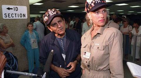 In this July 8, 1987 file photo, Casey Kasem and his wife Jean meet with reporters at Dulles International Airport in Chantilly, Va., upon the arrival of their group from the Soviet Union. Kasem, the smooth-voiced radio broadcaster who became the king of the top 40 countdown, died Sunday, June 15, 2014, according to Danny Deraney, publicist for Kasem's daughter, Kerri. He was 82. (Source: AP)