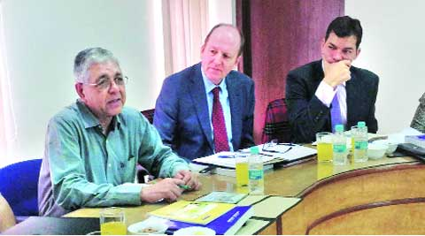 PU Vice-Chancellor Arun Kumar Grover at the meeting with the UK team on Monday.   (Source: Express photo)