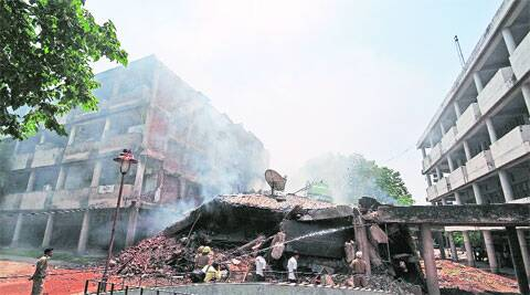 The four-storey inferno: In Sector 17, Chandigarh, on Monday. (Sumit Malhotra)
