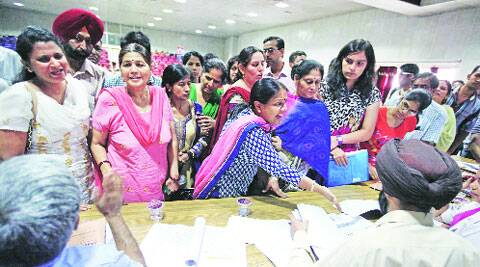 During counselling for MBBS at GMCH in Sector 32, Chandigarh, on Monday. (Express photo by Kamleshwar Singh)