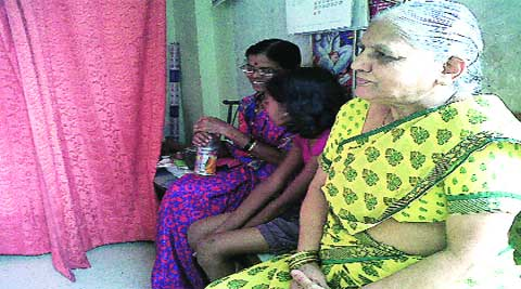 65-year-old Jayshree Marale at a clinic at Kasarwadi on Friday. She had to wait for injections till the evening