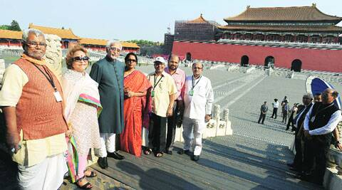 Vice President Hamid Ansari with wife Salma Ansari, minister Nirmala Sitharaman and other MPs at the Forbidden City in Beijing on Sunday. (Source: PTI)