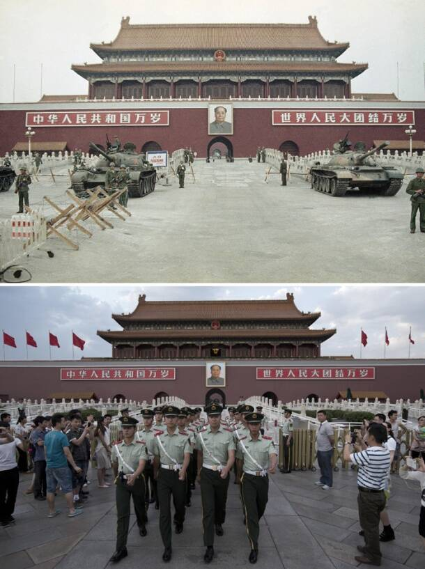 Tiananmen Square in 1989 and now