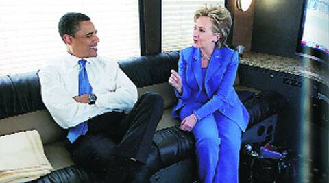 Obama and Clinton on their way to a joint event in June 2008.
