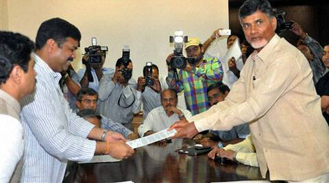 Chief Minister of Andhra Pradesh, N. Chandrababu Naidu at a meeting with Minister of State (Independent Charge) for Petroleum and Natural Gas, Dharmendra Pradhan in New Delhi on Thursday. (Source: PTI)
