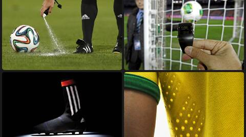 Goal Line technology, Vanishing spray, Advanced fabrics and ultra lightweight shoes will help players and officials bring out their best in the 2014  FIFA World Cup. (Source: AP, nike.com, adidas.com)