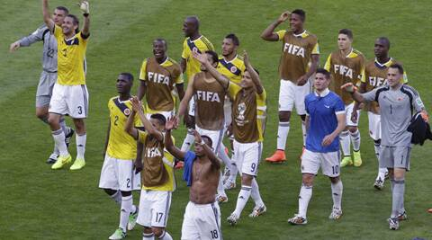 Colombia players danced together in probably the most joyous celebration so far of the Brazil World Cup. (Source: AP)