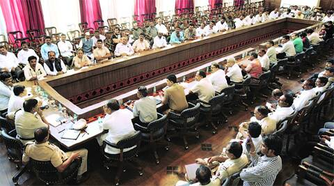 Pune Collector Saurabh Rao conducts a meeting on Tuesday with police officials and community leaders at the council hall to ensure peace in the city following clashes over the past week.             Source: Arul Horizon