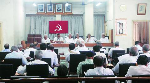 CPM leaders and cadres at the party headquarters in Kolkata Monday. Source: Partha Paul