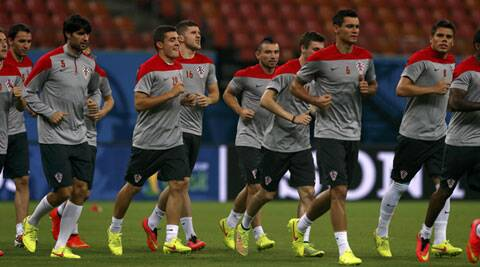 Croatia players jog during a team training at in Manaus ahead of their game against Cameroon. (Source: Reuters)