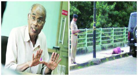 (L-R) Narendra Dabholkar; police at the spot where Dabholkar was killed. (Source: Express archive)