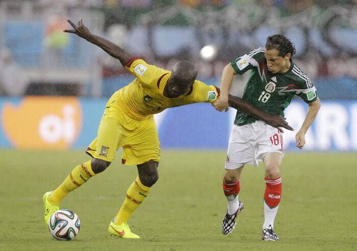 Cameroon looked desperate for an equaliser as Dany Nounkeu showd in the 77th minute. A very rough tackle by Nounkeu on Mexico's Fabian gave Mexico a free kick and Nounkeu a yellow card. (Source: AP)