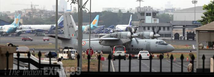 The special plane carrying the body, accompanied by Munde's relatives and party members, landed at the domestic airport here. The body was taken to `Poorna' building in Worli, Munde's residence. (Source: Express photo by Pradip Das)