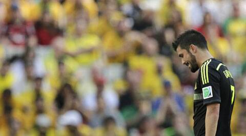 David Villa was overcome by emotion after being replaced in the 57th (Source: Reuters)
