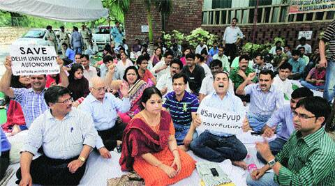 Professors on hunger strike supporting FYUP on Tuesday.