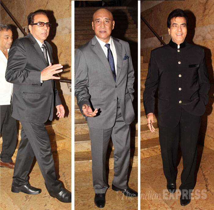 Yesteryear Bollywood heroes Dharmendra and Jeetendra were joined by villain Danny Denzongpa. (Source: Varinder Chawla)