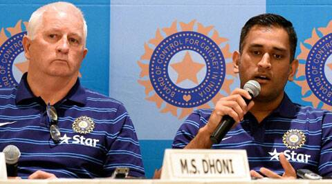 Indian captain Mahendra Singh Dhoni with coach Duncan Fletcher at the press conference in Mumbai ahead of the team's departure to England on Saturday (Source: PTI)