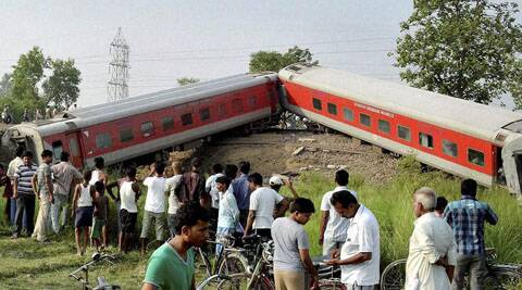 Delhi-Dibrugarh Rajdhani Express derailed at Golden Ganj station near Chapra early on Wednesday. (Source: PTI)