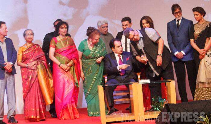 Salman Khan's father and writer Salim Khan, actress Vyjyanthimala, Subhash Ghai, Javed Akhtar, Aamir Khan, Madhuri Dixit, Big B and Priyanka Chopra on stage with Dilip Kumar and Saira Banu. (Source: Varinder Chawla)