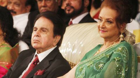 Dilip Kumar with Saira Banu at his autobiography launch.
