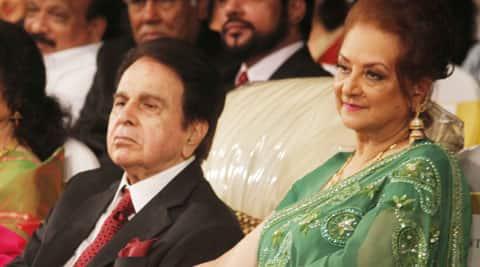 Dilip Kumar with Saira Banu at his autobiography launch.