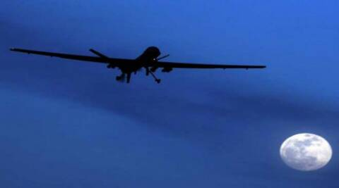 The drone fired eight missiles on the compound around 0230 IST, said a senior security official.
