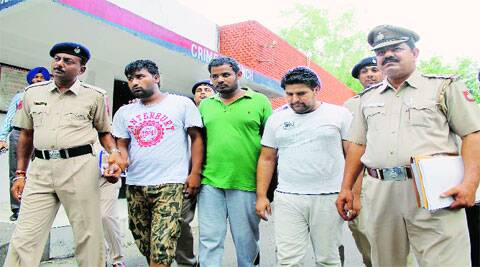 The arrested drug peddlers in Chandigarh on Sunday. (Source: Express photos)