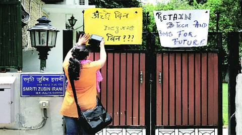 A BTech student outside the residence of HRD Minister Smriti Irani on Sunday.