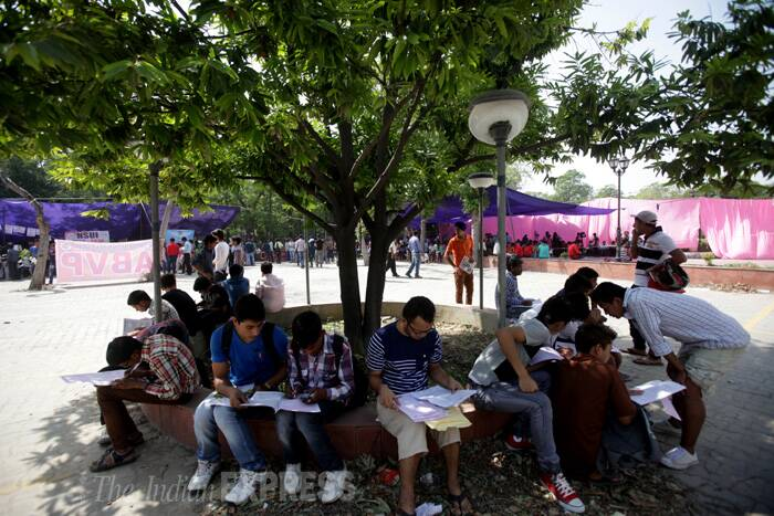 """Students applying for admission to various courses in Delhi University are unsure whether the 'Jat category' is included under the OBC quota this academic year. (Source: Express photo by Amit Mehra)"