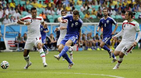 Edin Dzeko (C) opened the scoring for Bosnia. (Source: AP)
