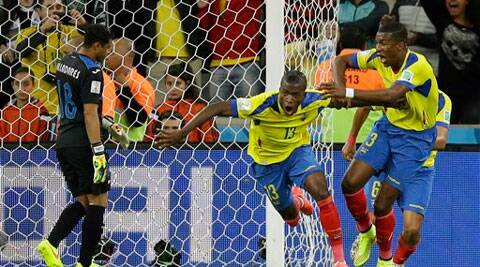 Ecuador's Enner Valencia, center, celebrates after scoring his side's second goal against Honduras' goalkeeper Noel Valladares . (AP Photo)