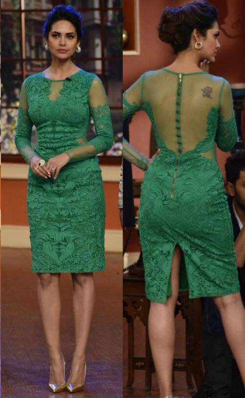 Esha Gupta looked great in this green Pankaj and Nidhi dress that she picked for one of her 'Humshakals' promotional events. The metallic pumps were a great pick.