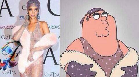 Peter Griffin wears the same sheer and glitzy costume that Rihanna donned to the awards. (Source: Twitter)