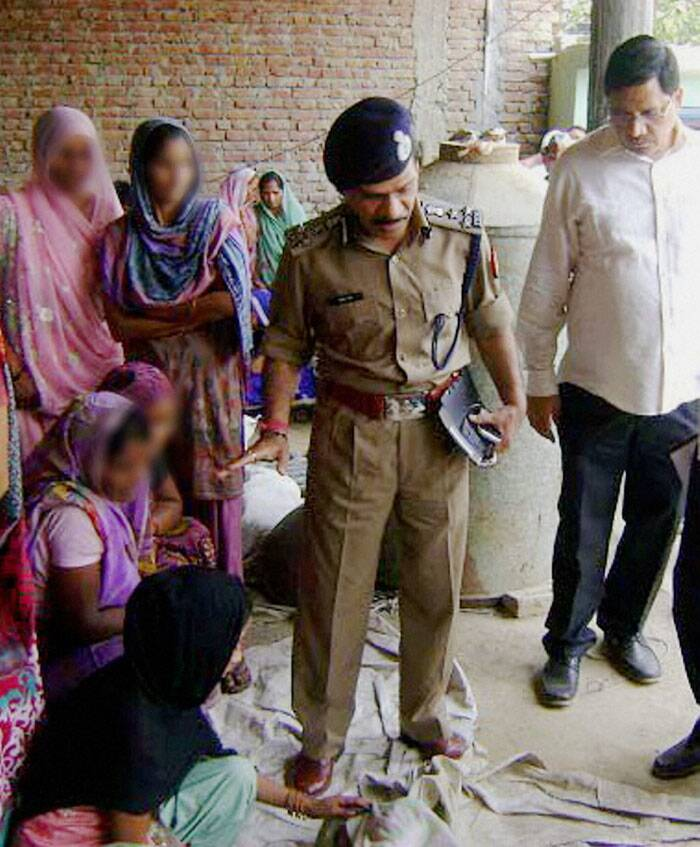 DIG of police Gulab Singh interacts with the family members of the victim (Source: Express photo by Oinam Anand)