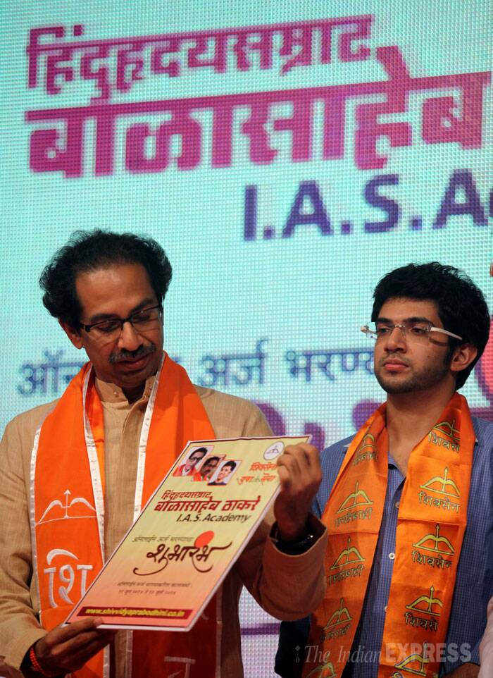"When his son Aaditya Thackeray was asked, if he would like to see his father become the CM, Uddhav intervened, saying ""If any such decision is taken, you (media) will be informed.""(Source: Express photo by Prashant Nadkar)"