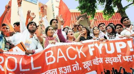 The ABVP members outside the UGC office in the capital on Friday. (Express Photo: Ravi Kanojia)